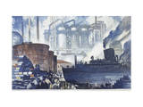 Refinery Turns Petroleum Into Gas for the War Premium Giclee Print by Thornton Oakley