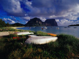 Rowing Boats on Lagoon Beach, Lord Howe Island, New South Wales, Australia Photographic Print by Richard I'Anson