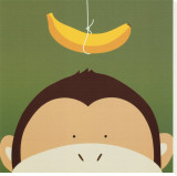 Peek-a-Boo X, Monkey Stretched Canvas Print by Yuko Lau