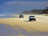 Four-Wheel Drive Vehicles on Seventy Five Mile Beach, Queensland, Australia Photographic Print by David Wall