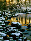 River Rathay at Grasmere with Winter Snow on Rocks, Lake District National Park, Cumbria, England Photographic Print by David Tomlinson