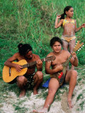 Islanders Playing Music at Anakena Beach, Easter Island, Valparaiso, Chile Photographic Print by Peter Hendrie