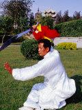 Martial Arts Master Practising Routine in Xihai Park in Tongzhou, Beijing, China Photographic Print by Krzysztof Dydynski