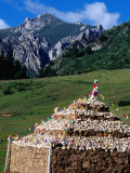 Tibetan Stupa on Eastern Outskirts of Town, Langmusi, Gansu, China Photographic Print by Krzysztof Dydynski