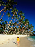 Female Tourist on Return to Paradise Beach, Upolu, Samoa Photographic Print by Peter Hendrie