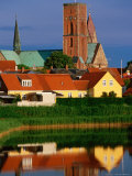 Ribe Domkirke and Town Buildings Reflected in Water, Ribe, Denmark Photographic Print by John Elk III