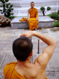 Buddhist Monks Taking Photos, Wat Pho, Bangkok, Thailand Photographic Print by Ray Laskowitz