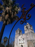 Mission Conception through Wrought Iron Gate, San Antonio, Texas Photographic Print by John Elk III