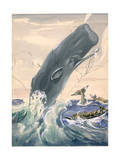 Painting of a Sperm Whale Leaping After Being Struck with a Harpoon Giclee Print by Else Bostelmann