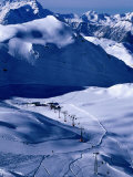 Ski Slopes and Frozen Lac des Vaux, Verbier, Valais, Switzerland Photographic Print by Glenn Van Der Knijff