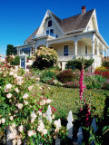 Historic House with Garden Flowers in Foreground, Mendocino, California Photographic Print by John Elk III