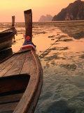 Longtail Boat with Decoration to Appease Spirits on Ao Ton Sai Beach, Ko Lanta Yai, Krabi, Thailand Photographic Print by Dominic Bonuccelli