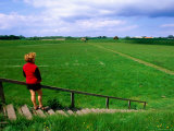 Woman on Ramparts of Viking Ring Fortress, Funen Island, Funen, Denmark Photographic Print by John Elk III