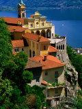 Sanctuary of Madonna del Sasso and Lago Maggiore, Locarno, Ticino, Switzerland Fotografie-Druck von Glenn Van Der Knijff