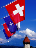 Canton Flags with Balloon in Distance at Kapellbrucke, Lucerne, Lucerne, Switzerland Photographic Print by Witold Skrypczak