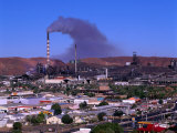 Smoke Billowing from a Smelter Stack with Mt. Isa in the Foreground, Australia Photographic Print by Ross Barnett