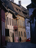 Medieval Facades in the Village Where Count Dracula Was Born, Sighisoara, Mures, Romania Photographic Print by Michael Gebicki