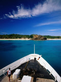 Blue Lagoon Cruises Ship and Island, Yasawa Island, Western Division, Fiji Photographic Print by Peter Hendrie