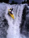 Kayak Flying over Fall One on Store Ula River, Oppland, Norway Fotografisk trykk av Anders Blomqvist