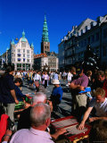 People Playing Backgammon on Hobjbro Plats on Stroget, Copenhagen, Denmark Photographic Print by John Elk III