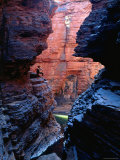 Man in Weano Gorge, Karijini National Park, Western Australia Photographic Print by Oliver Strewe