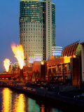 Crown Casino with Riverside Flame Display, Melbourne, Victoria, Australia Photographic Print by Christopher Groenhout