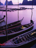 Longtail Boats Bob against Mooring Sticks at Sunset, Ko Panyi, Phang-Nga, Thailand Photographic Print by Dominic Bonuccelli