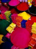 Coloured Powders for Sale at Gulmandi Road Bazaar, Aurangabad, Maharashtra, India Photographic Print by Richard I'Anson