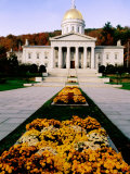 Flower Beds in Front of Vermont State Capitol, Montpelier, Vermont Photographic Print by John Elk III