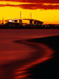 Westgate Bridge at Sunset from Middle Park, Melbourne, Victoria, Australia Photographic Print by John Banagan