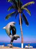 Dolphin Fountain on Boardwalk, Old Town Area, Mexico Photographic Print by Richard Cummins