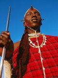 Ochre-Painted Maasai Moran, Longido, Arusha, Tanzania Photographic Print by Ariadne Van Zandbergen
