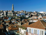 Riberia Rooftops and Torre Dos Clerigos, Porto, Douro, Portugal Photographic Print by Brent Winebrenner