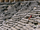 Aspendos Roman Theatre Seats and Seated Woman, Aspendos, Antalya, Turkey Photographic Print by John Elk III