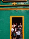Painted House with Children Posing in the Doorway, Momostenango, Totonicapan, Guatemala Photographic Print by Jeffrey Becom