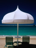 Chairs and Umbrella at Jumeirah Beach, Ritz Carlton Hotel, Dubai, United Arab Emirates Photographic Print by Izzet Keribar