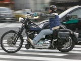 Motorcyclist at Intersection of Dogen-Zaka and Jingu-Dori in Shibuya, Tokyo, Kanto, Japan Photographic Print by Brent Winebrenner
