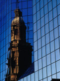 Church Reflected in Glass Building, Santiago, Chile Photographic Print by Richard I'Anson