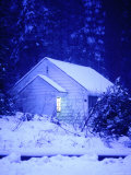 Small, Snow Covered Cabin in Yosemite, California Photographic Print by Thomas Winz