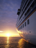 Cruise Ship at Sunset, Reykjavik, Reykjavik, Iceland Photographic Print by Holger Leue
