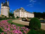 Chateau de Chenonceau with Catherine de Medici's Garden, Chenonceaux, Centre, France Photographic Print by John Elk III