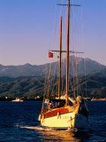 Yacht Cruising with Sails Down, Fethiye, Mugla, Turkey Photographic Print by John Elk III