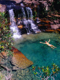 Man Relaxing in Pool at Base of Pacheco Falls, Quebrada Pacheco, Bolivar, Venezuela Photographic Print by Krzysztof Dydynski