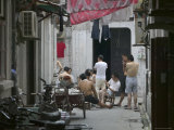 Back Alley Card Game, Shanghai, China Photographic Print by Brent Winebrenner