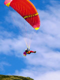 Paraglider in Mid-Air, Mt. Aspiring, New Zealand Photographic Print by Oliver Strewe