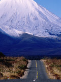 Road Leading Up to Snow-Covered Mount Ngauruhoe, Tongariro National Park, New Zealand Photographic Print by Oliver Strewe