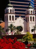St. Mary's Basilica with Arizona Center Tower Behind, Phoenix, Arizona Photographic Print by Richard Cummins