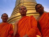 Monks in Front of the Golden Mount, Wat Saket, Bangkok, Bangkok, Thailand Photographic Print by Dominic Bonuccelli
