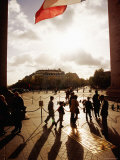 People Under Arc de Triomphe and French Tricolour Flag, Paris, Ile-De-France, France Photographic Print by Izzet Keribar