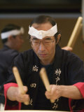 Man Playing Taiko, Kobe, Kinki, Japan Photographic Print by Brent Winebrenner